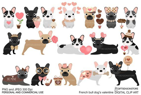 Valentine French Bulldogs Digital Clip Art For Personal And
