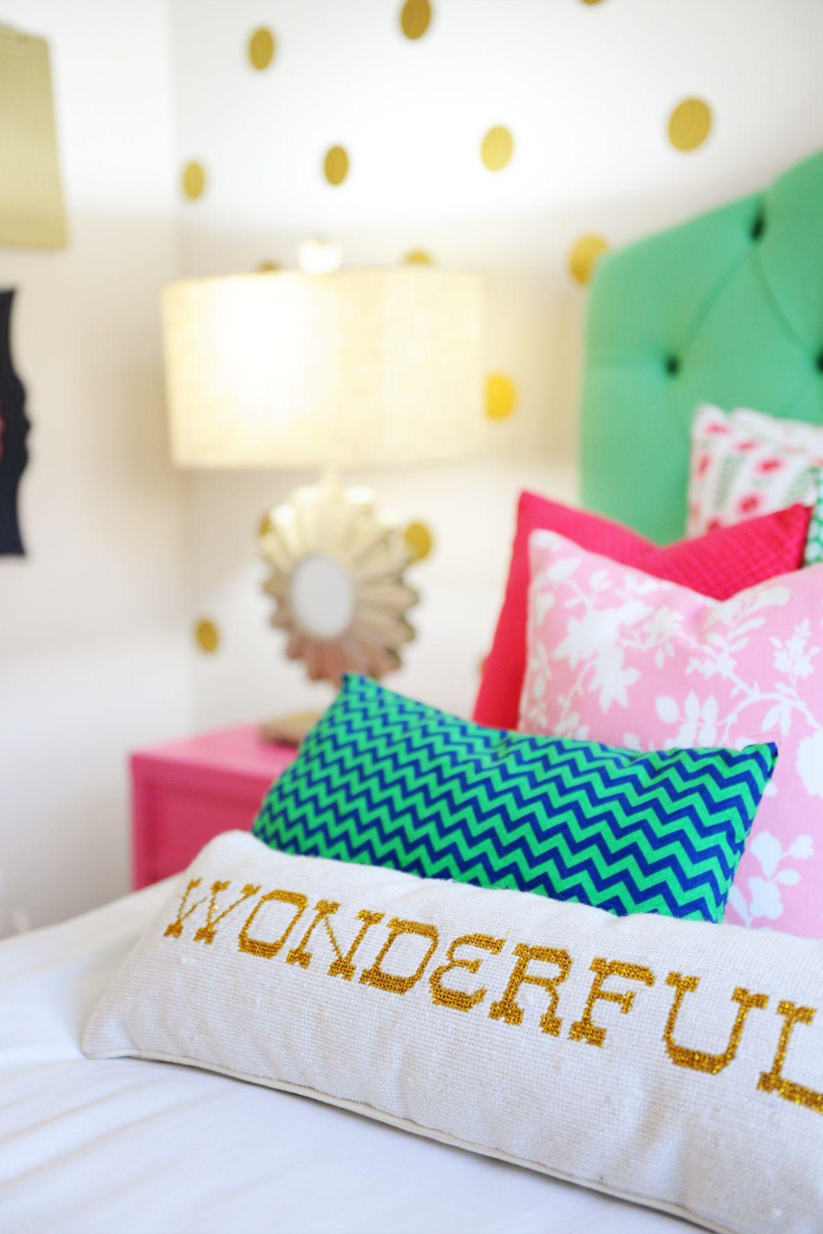 Amazing tween girl bedroom design pink navy gold and for Pink and green girls bedroom
