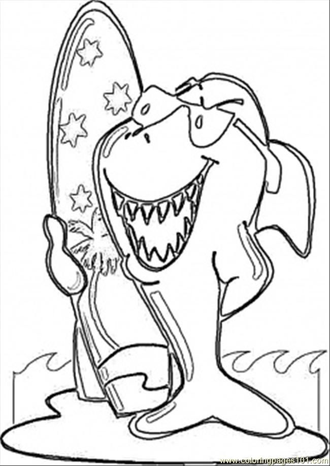 Coloring Pages Surfing Shark Countries Australia Free