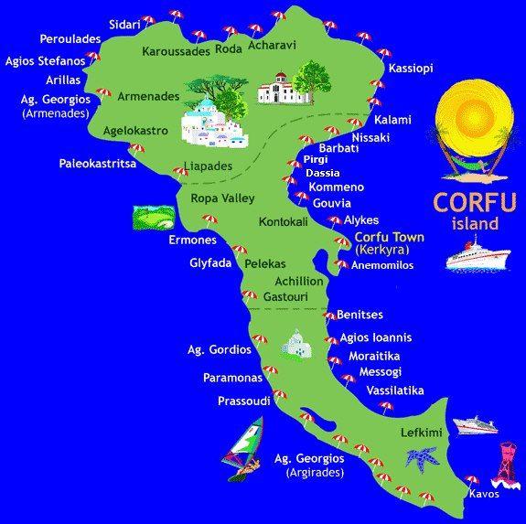 Corfu Island Map Corfu Island Corfu Greece Corfu