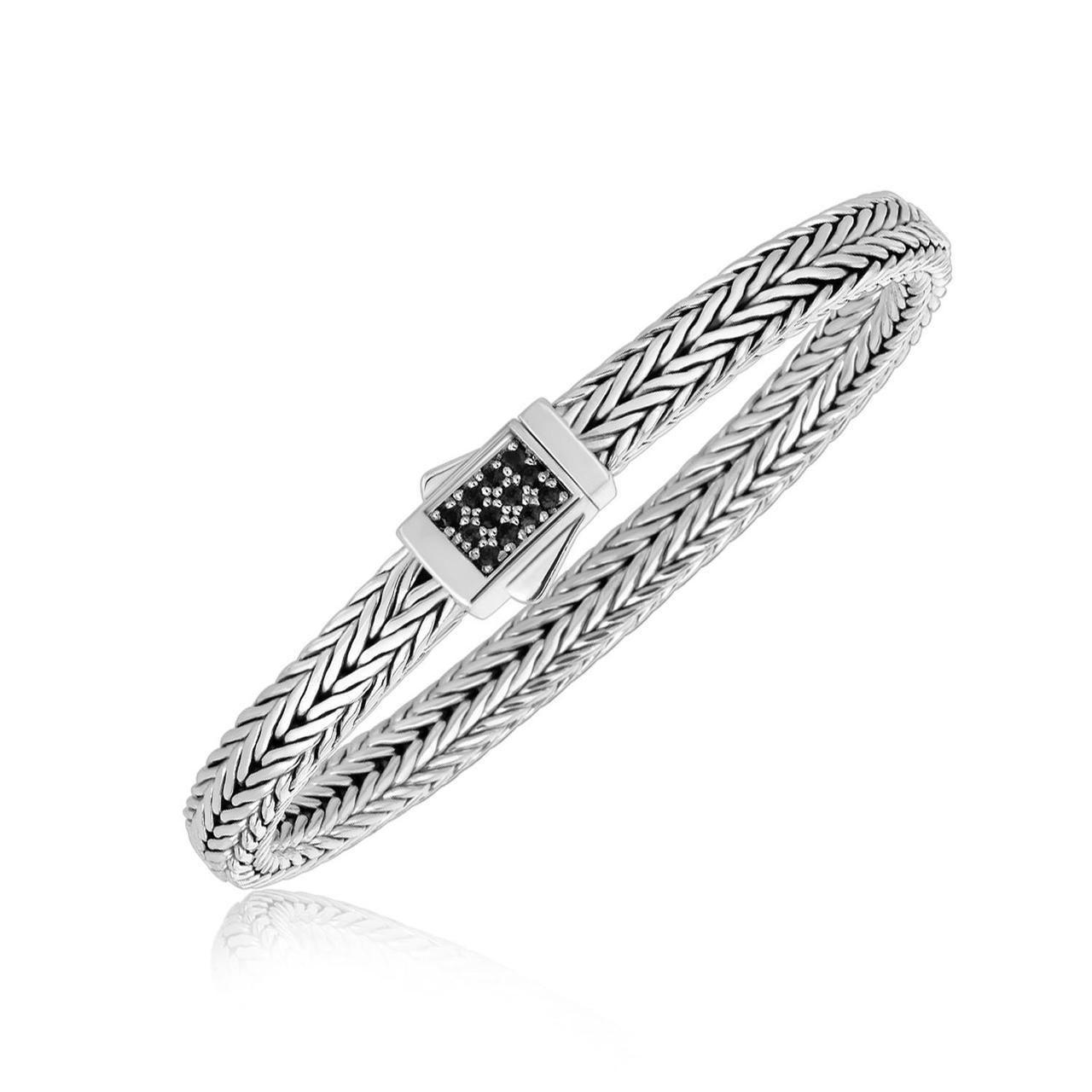 Sterling Silver Braided Black Sapphire Accented Men's Bracelet - 70464-7.5