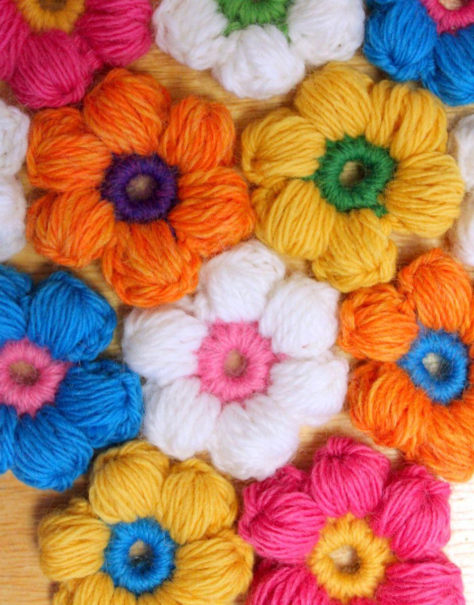 6 Petal Puff Stitch Crochet Flower | crochet flowers | Pinterest ...