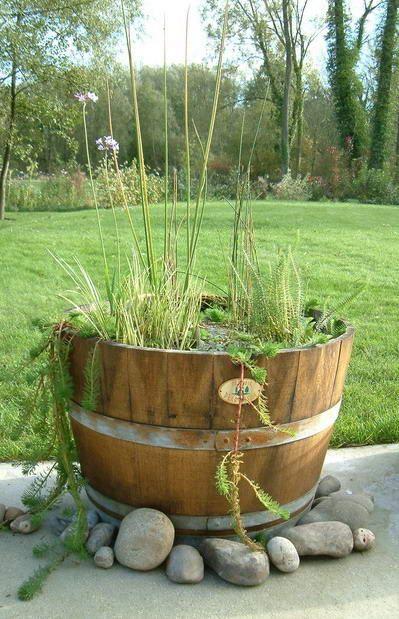 Cuve a vin recycl e en bassin jardin pinterest bassin vin et tonneaux - Bassin dans demi tonneau limoges ...
