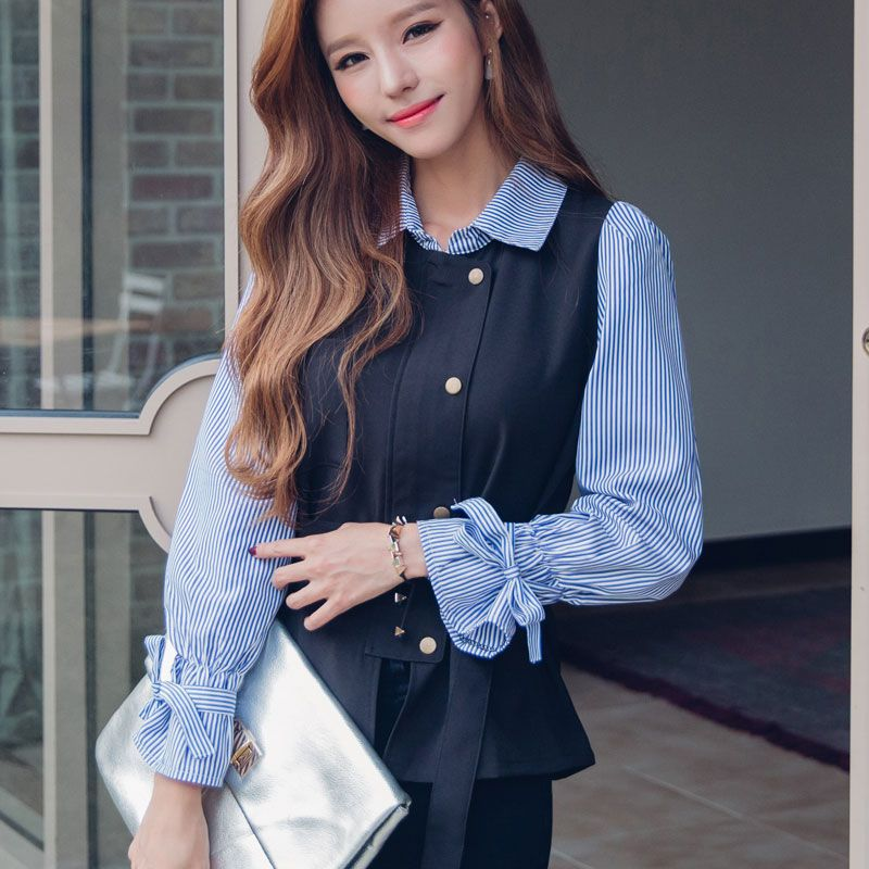 b415ee41f0 Korean Style Blouse Long Sleeve Striped Polo Collar Shirt Women New Arrival  2016 Autumn Fashion Clothing Women Tops With Bow