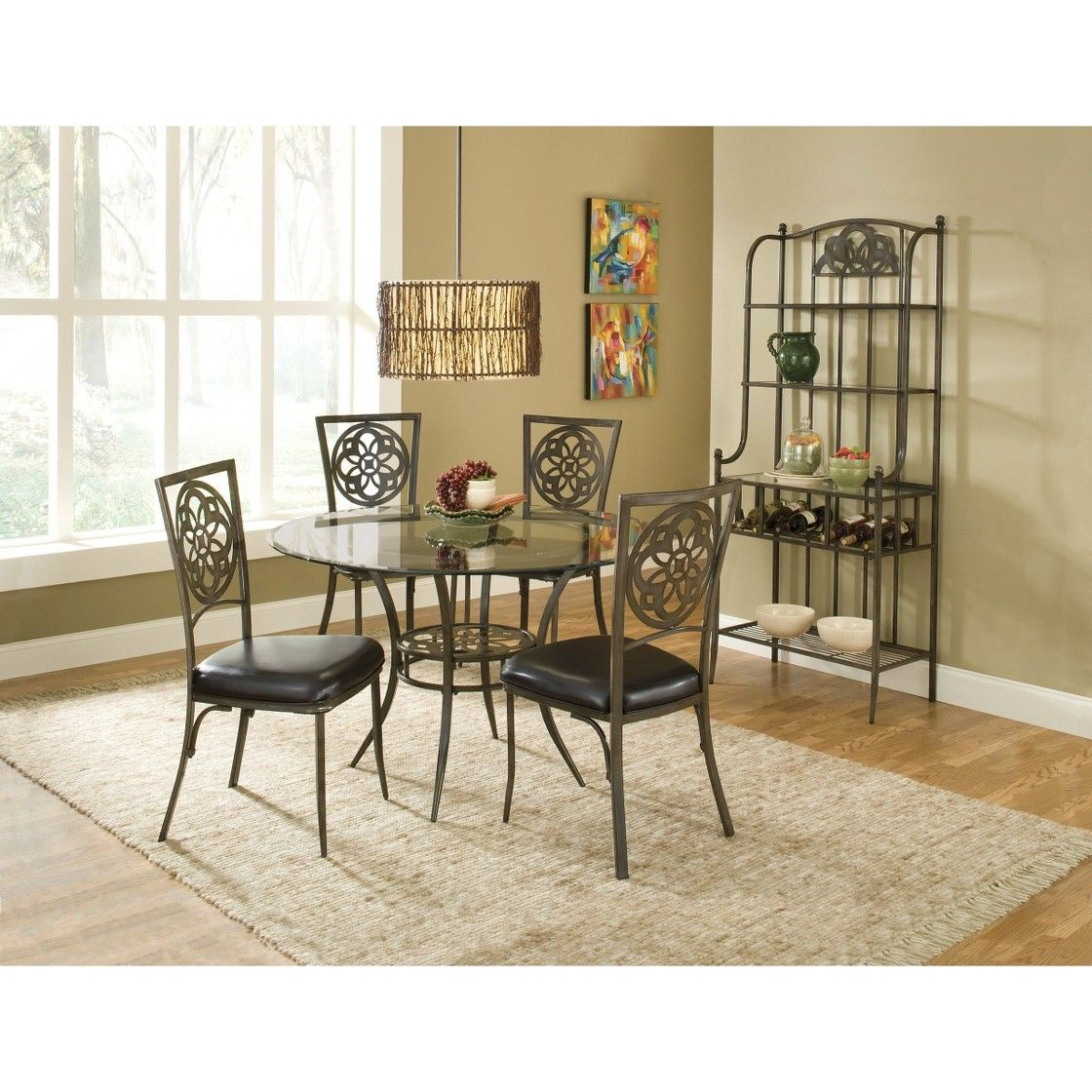 Hillsdale Marsala Tempered Glass Top Round Dining Table