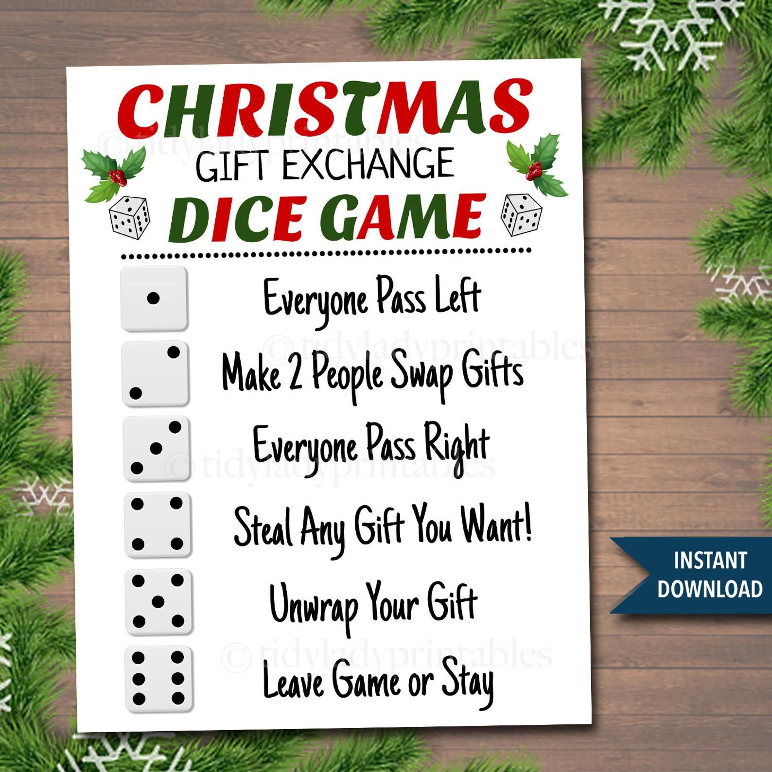 Office Party Pass the Presents Family Party Christmas or Holiday Gift Exchange DICE Game Blue snowflake theme Family Party Christmas