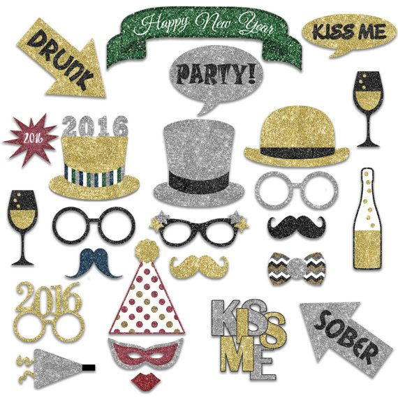 SALE New Years Photo Booth Props 2016 Printable Gold and ...