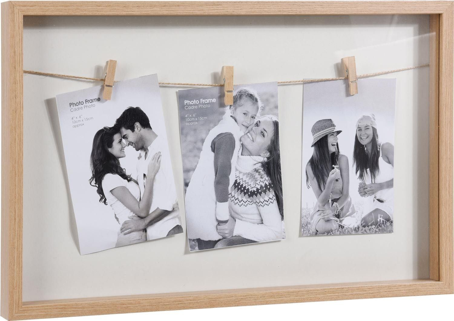 Rustic 5 Wooden Photo Frames On Tray ~Finished in a Distressed Lime Washed Style