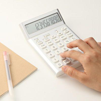 Badalink 太陽エネルギー電卓 10桁電卓 両用電卓 デザイン電卓 電子使用でき 時間・税計算 ホワイト