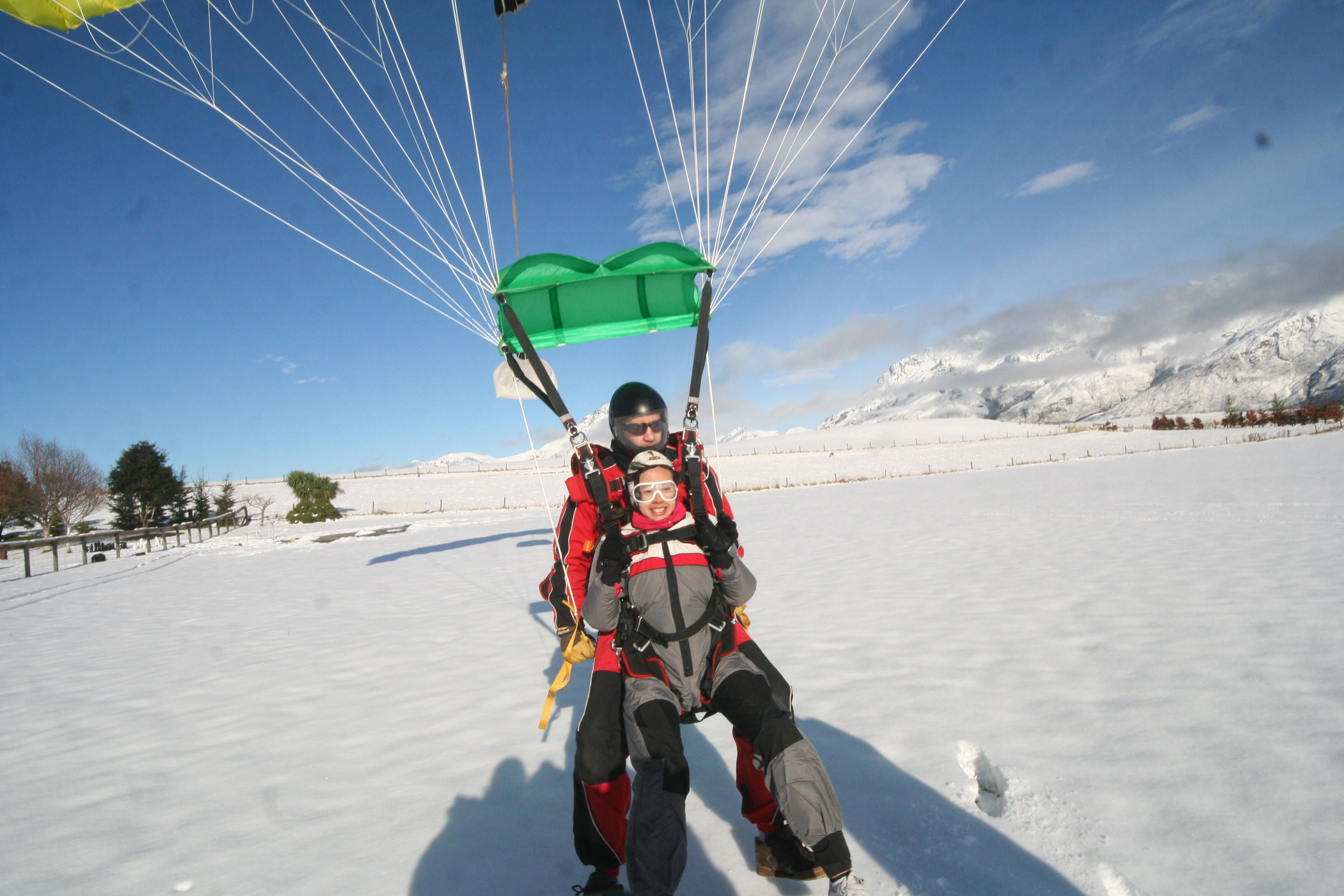 Huang From Taiwan Landing Her Skydive With Nick Photo By Ricky 27th May 2014 Paragliding Skydiving Queenstown