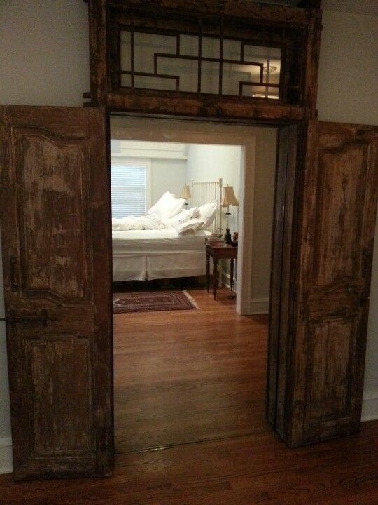 Restored These 500 Year Old Doors Installed A Full Length Mirror In It For An Awesome Effect Old Doors Loft Bed Home