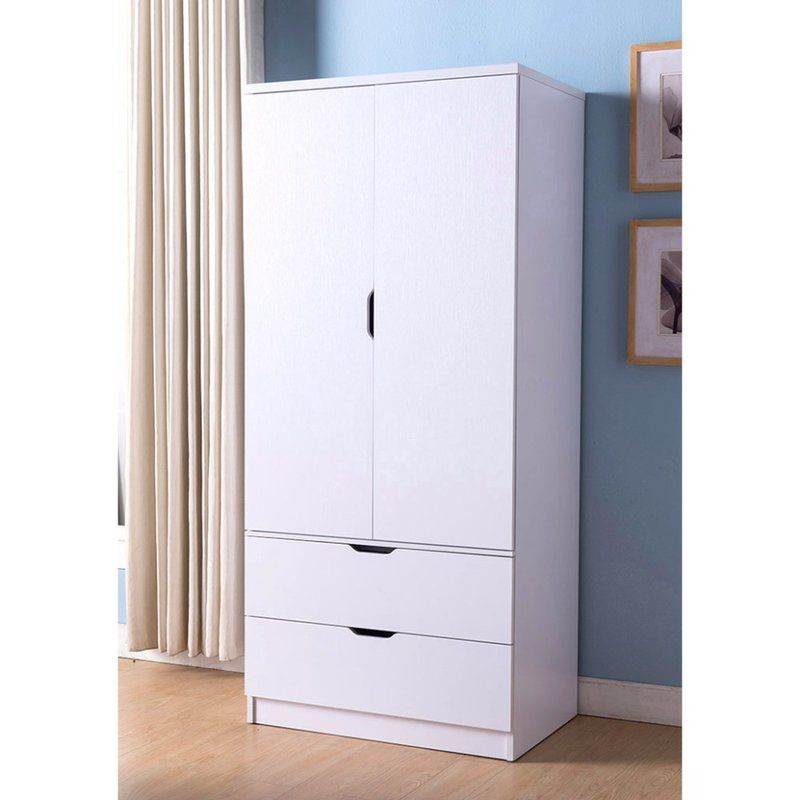 Cianjur Spacious 2 Door Wardrobe Armoire Wood Wardrobe Wooden Storage Cabinet Furniture