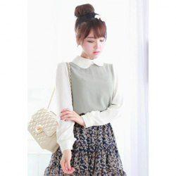Ladylike Turndown Collar Long Sleeve Chiffon Shirt For Women