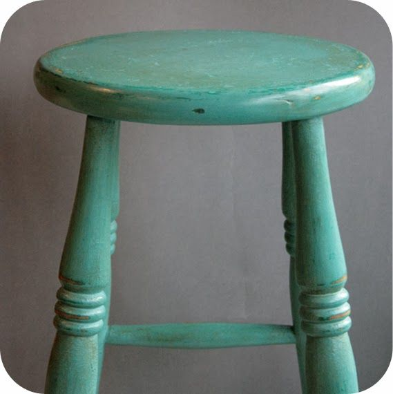 Wooden bar stool painted with Annie Sloan Chalk paint in Florence