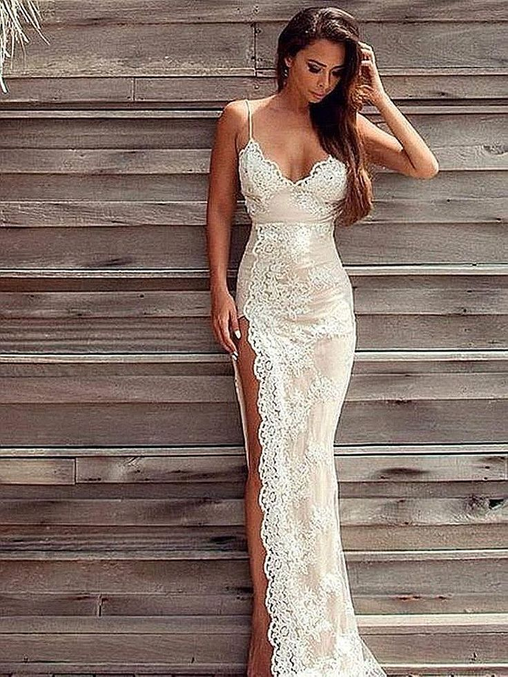2017 Sexy Beach Wedding Dresses With High Side Slit Lace Sheath Evening Gown Spaghetti Straps Backless