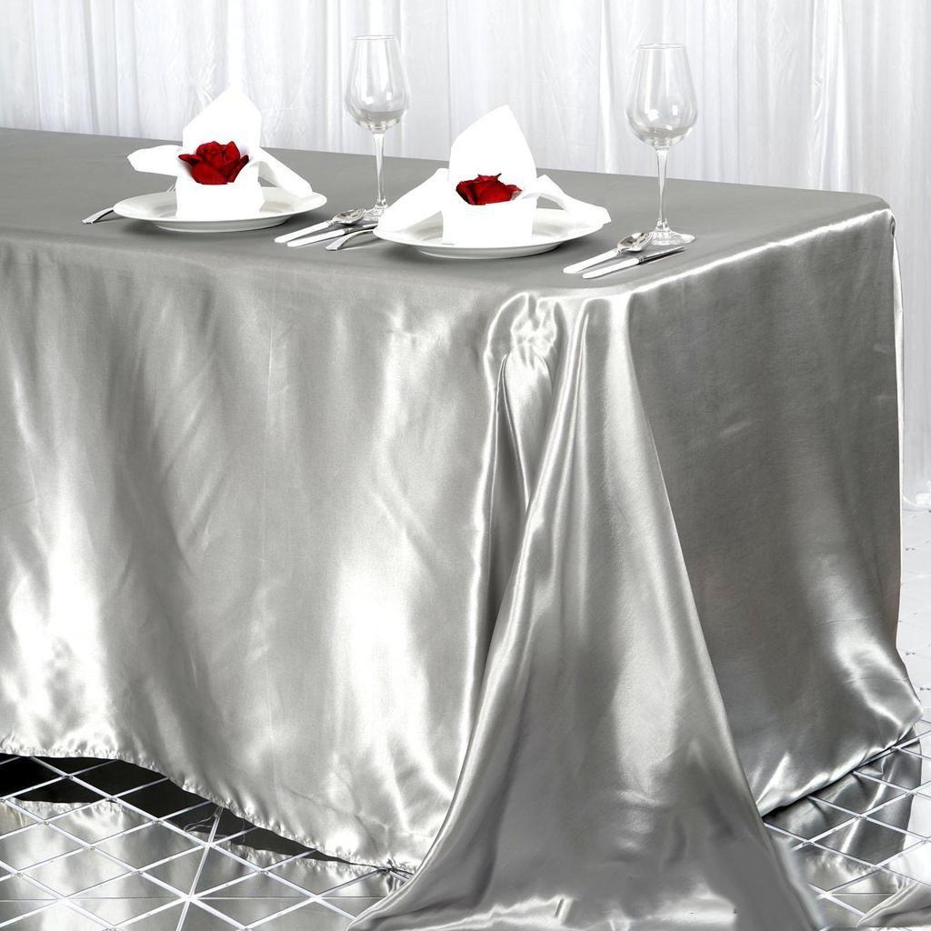 90x156 Silver Satin Rectangular Tablecloth Table Cloth