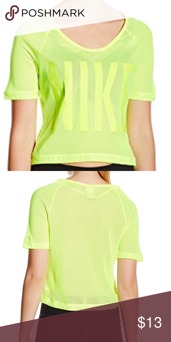 35cdfe0da4e NIKE NEON MESH CROP TOP LOVELY MESH (LIGH SEE THROUGH) TOP PERFECT FOR  WORKING OUT WITH A CUTE SPORTS BRA UNDERNEATH Nike Tops Tees - Short Sleeve