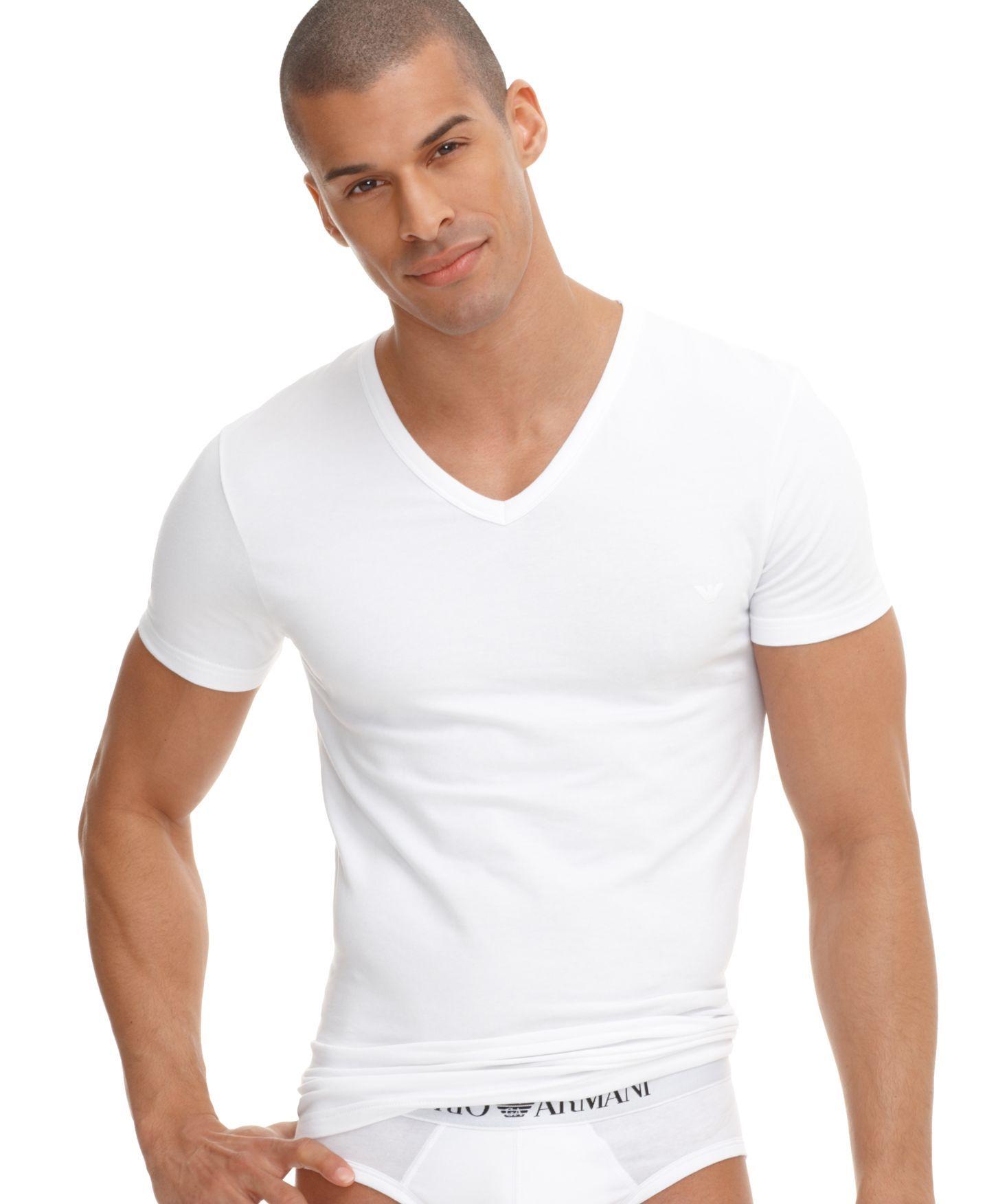 44b7f6208abf Emporio Armani Men's Underwear, Stretch Cotton V Neck T Shirt ...