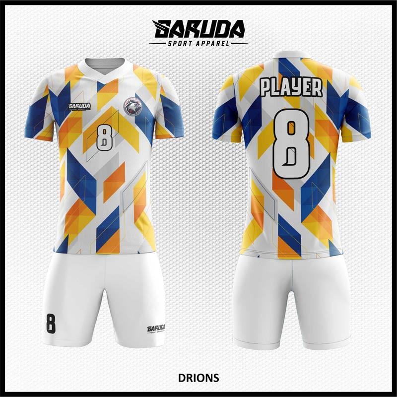 Download Desain Jersey Sepakbola Drions Warna Putih Biru Kuning Yang Begitu Dinamis Garuda Print Desain Kaos Jersey Biru Desain