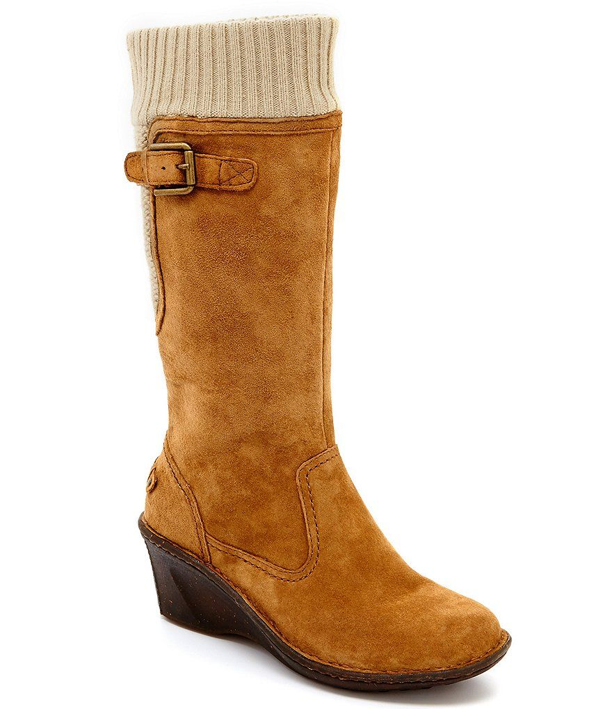 2a1040b702a UGG® Skyfall Sweater-Cuff Suede Wedge Boots
