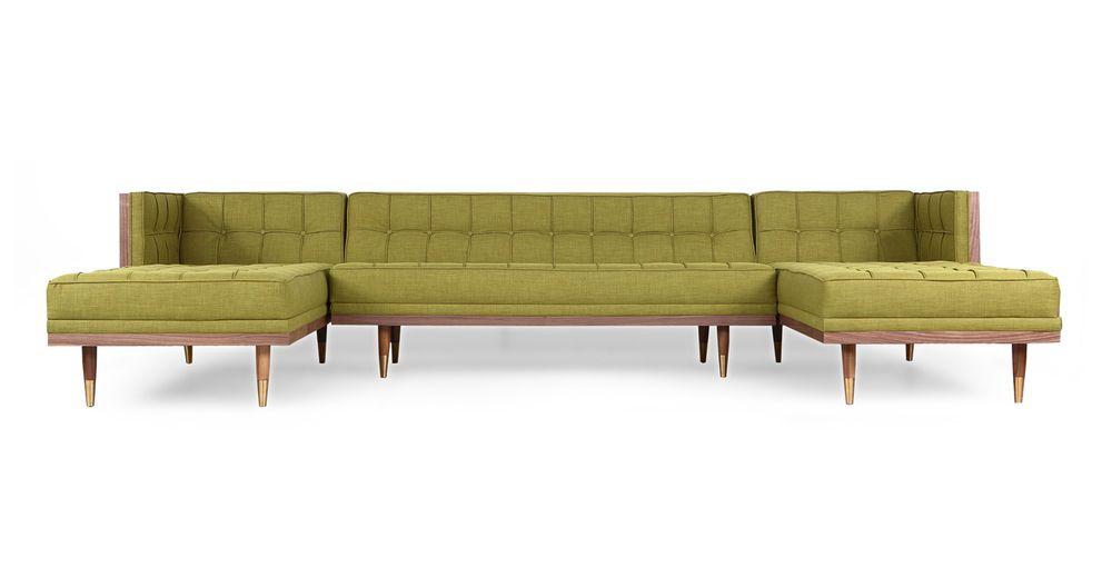 Woodrow Box 126 Fabric Sofa U Sectional Walnut Atomic Moss Modern Sofa Sectional Mid Century Modern Sofa Couch Mid Century Modern Sofa