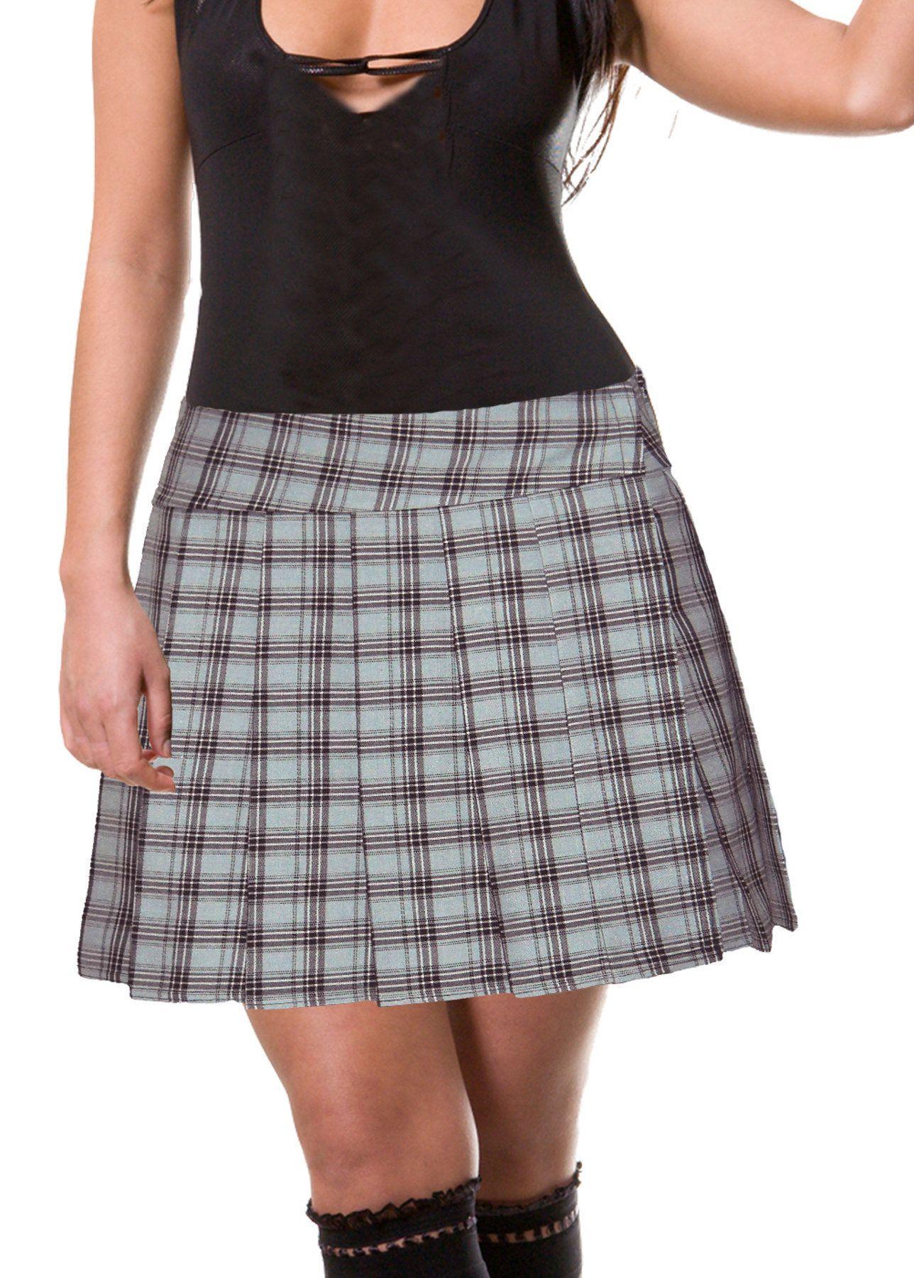 Gawler Junior to Plus Size Light Gray Schoolgirl Plaid Pleated Mini Skirt