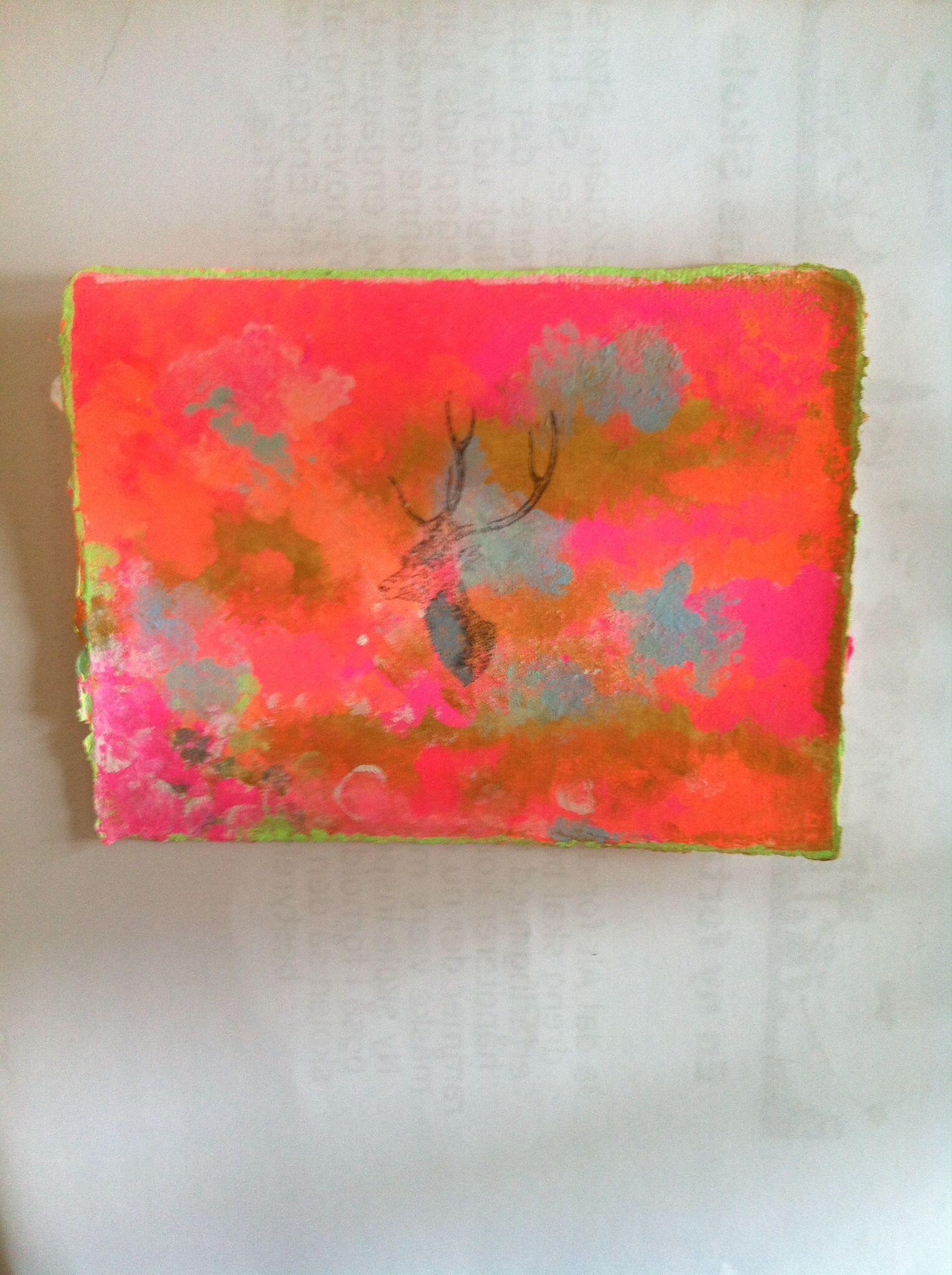 Malet med tusch og tryk