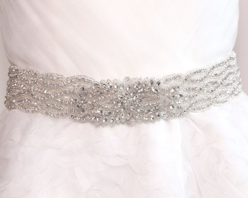 Bridal Wedding Thick Vintage Rhinestone Crystal Ribbon Satin Sash ...