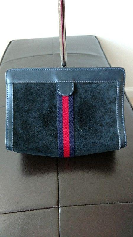 53ce85709 Authentic Vintage Gucci Blue Suede Clutch   Vintage Gucci Bags ...