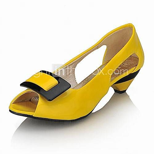 Leatherette Low Heel Closed Toe Shoes With Bow (More Colors)