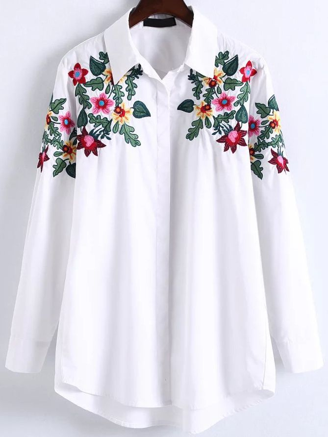 Shop White Floral Embroidery High Low Blouse Online Shein Offers
