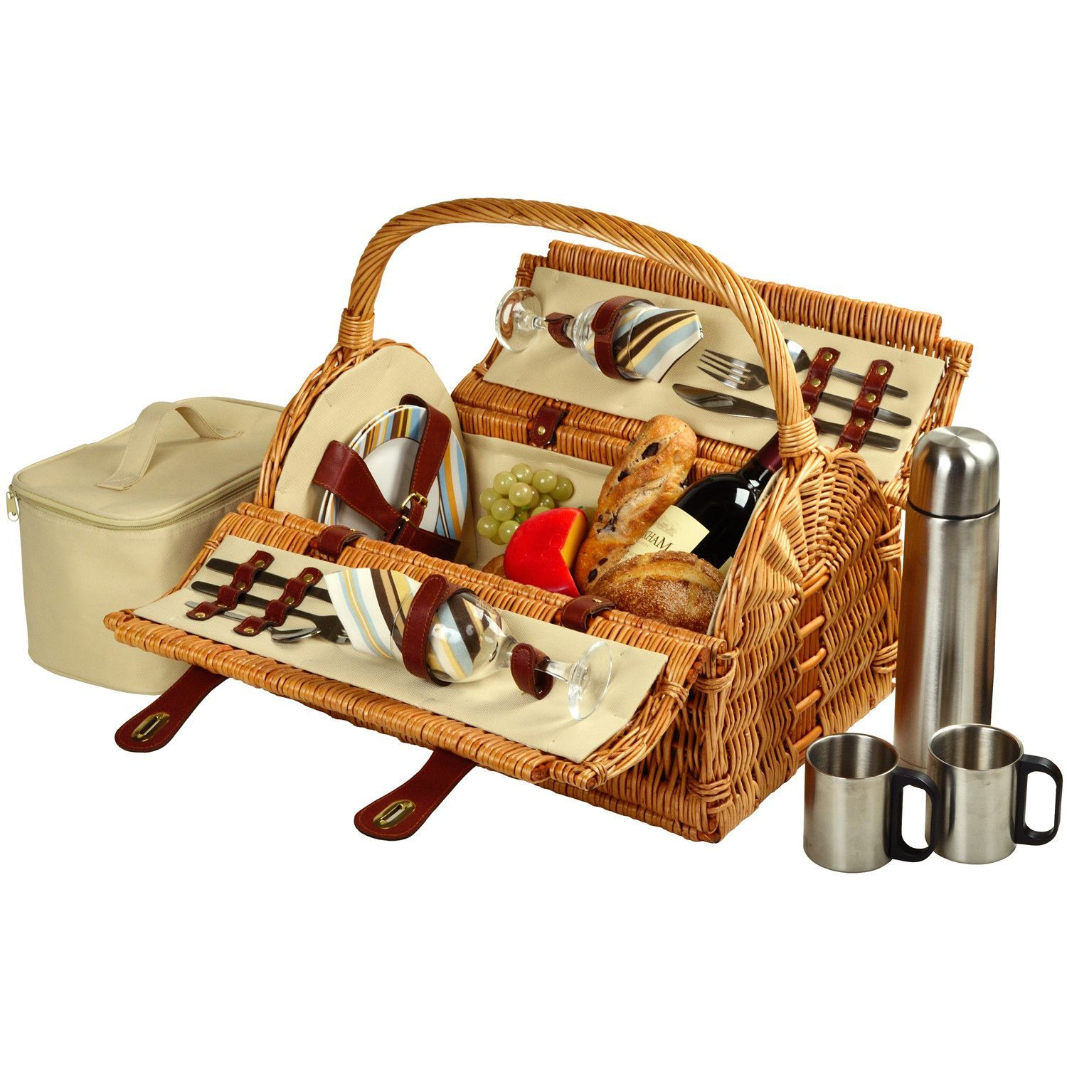 Sussex Picnic Basket with Coffee Flask for Two Wicker