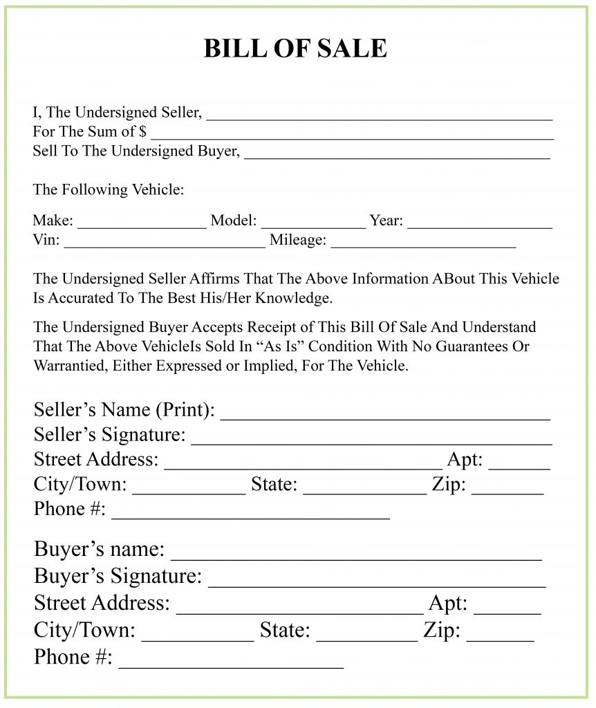 Maine Bill Of Sale Form For Dmv, Car, Boat Pdf & Word in