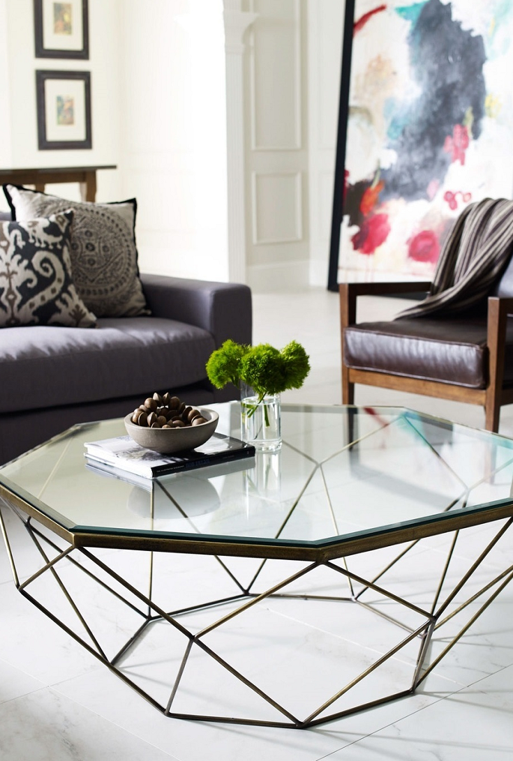 30 Glass Coffee Tables That Bring Transparency To Your Living Room Geometric Coffee Table Glass Table Living Room Coffee Table [ 1091 x 735 Pixel ]
