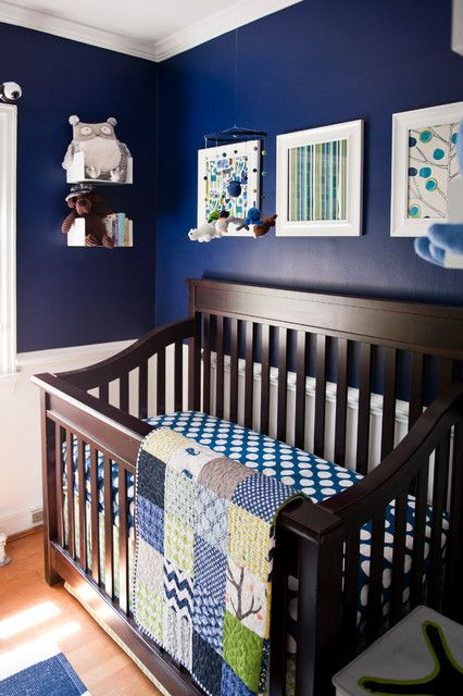 Eclectic Navy Nursery Interior Style Furnished With Dark