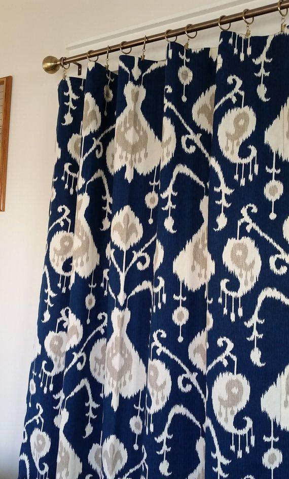 Pair Navy Blue Ikat Curtain Panels, Drapes, Magnolia Home Java Ikat, Cotton  Window