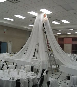 How to hang gossamer how to hang ceiling draping decorations ceiling draping kit for church liturgical seasons banners wedding ceiling decor reception decorating kits junglespirit Gallery