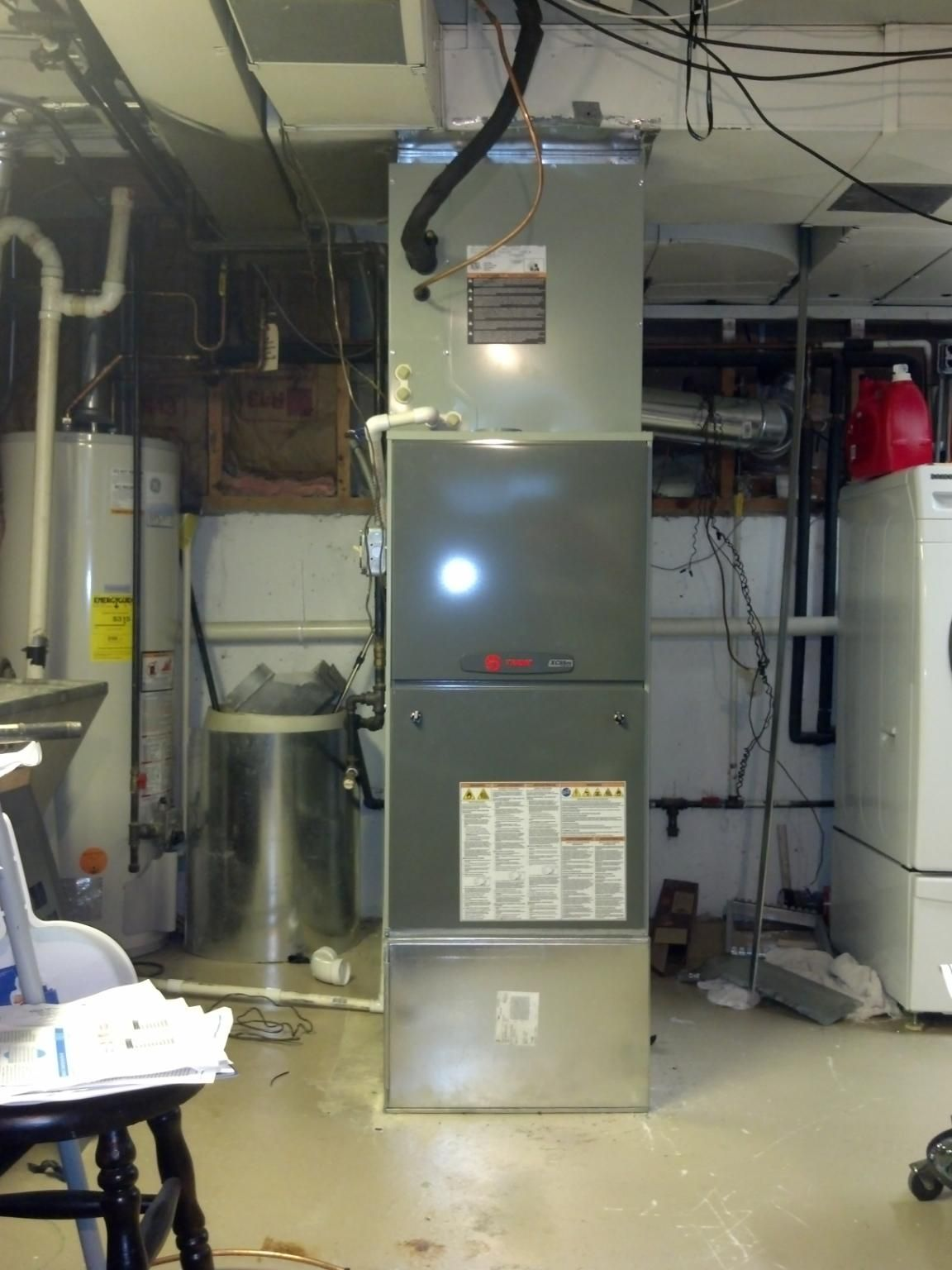 front view trane xc95m modulating furnace with a custom return drop and box we also used a aprilaire whole house media cleaner  [ 1152 x 1536 Pixel ]