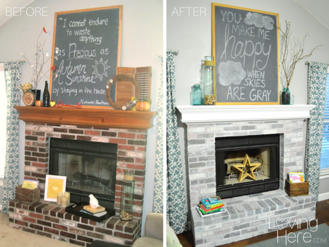 Should I Whitewash My Brick Fireplace Comparison Photo Before And