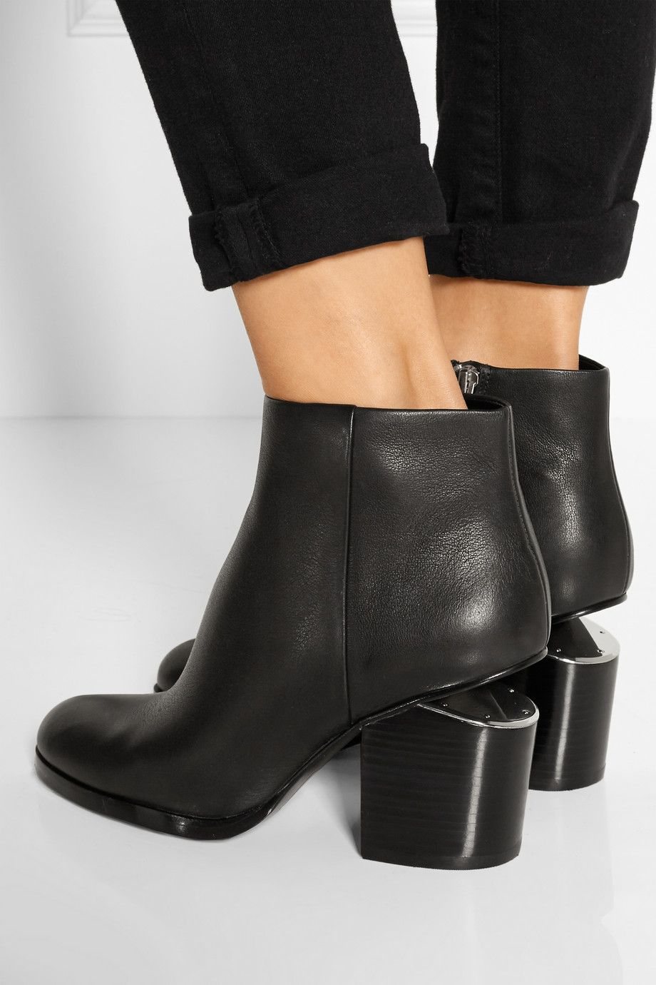 Alexander Wang Gabi Cutout Leather Ankle Boots Leather