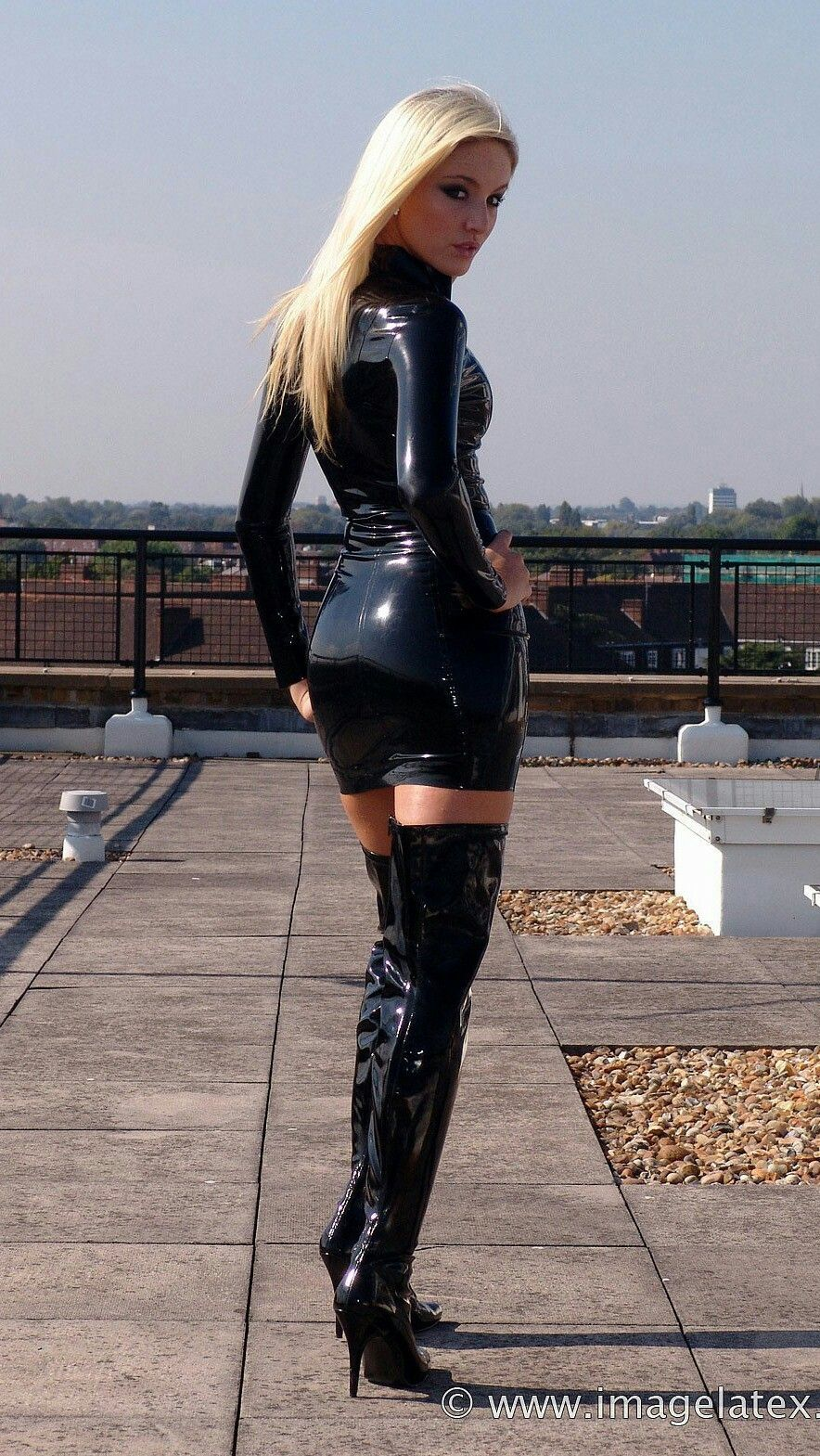 Sexy blonde latex boots