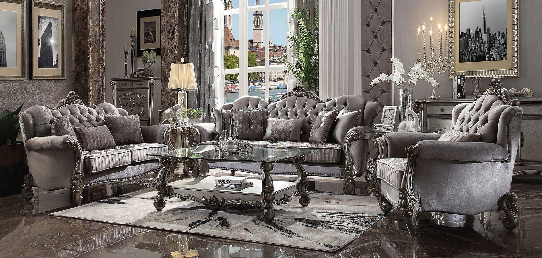 Versailles Living Room Set Antique Platinum Living Room Collections Formal Living Room Sets Living Room Sets #versailles #living #room #set
