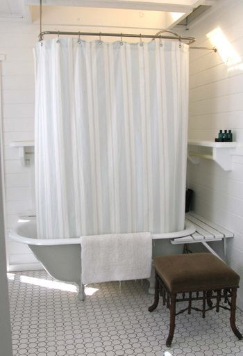 This Is Pretty Similar To My Own Bathroom, Except For The Wood On The  Walls. Clawfoot Tub ShowerBathroom Shower CurtainsBathroom ...