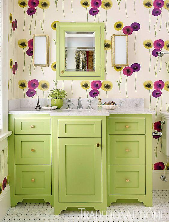 Traditional Home - bathrooms - Benjamin Moore - Stem Green - Bamboo ...