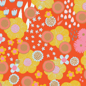 Vintage Floral Retro Psychedelic Hippie Hippy Spoonflower Fabric by the Yard