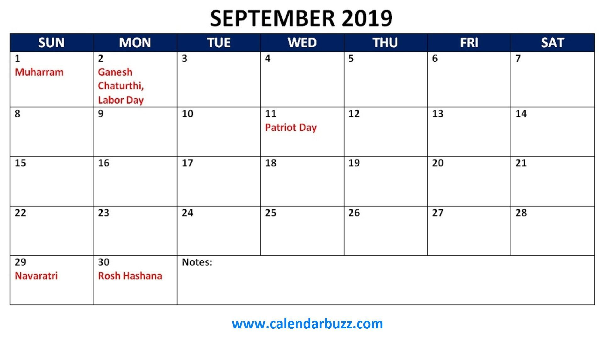 September 2019 Calendar In Pdf Word Excel Printable Template