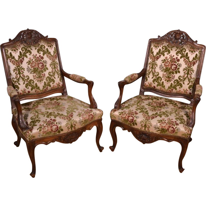Exceptional Pair of Antique Upholstered Louis XV Style Arm Chairs Solid  Mahogany Frame ~ rubylane - Exceptional Pair Of Antique Upholstered Louis XV Style Arm Chairs