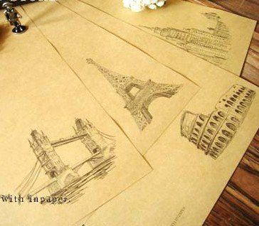 Design Paper For Writing Retro Style Kraft Letter Paper Writing Paper Eiffil Tower Design .