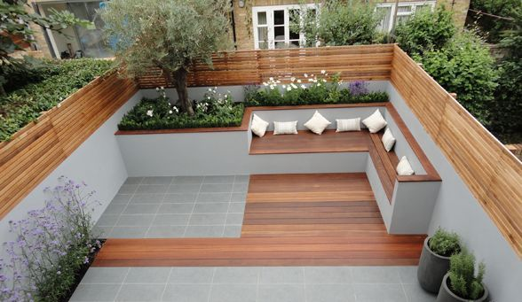 Built in patio seating google search built in patio for Garden decking seating areas