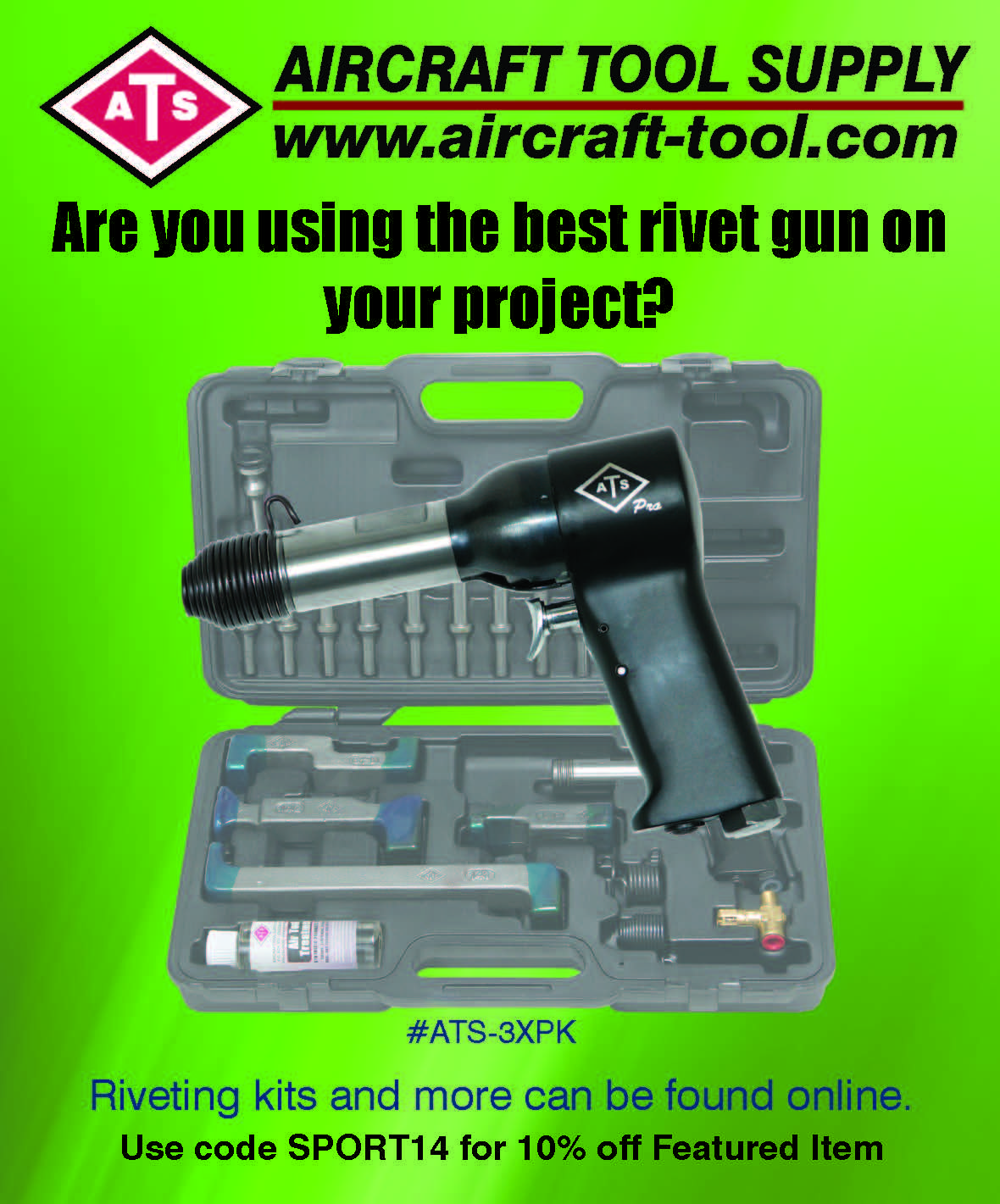 3X Rivet Gun Kit features a 3X Rivet Gun, rivet sets in